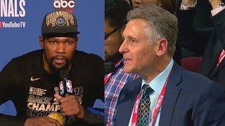 Kevin Durant SHUTS UP Reporter Who Tried To Start Drama Over Stephen Curry Not Winning Finals MVP!