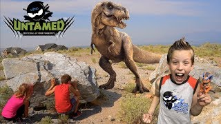 Ninja Kids vs Untamed T-REX!  Toy review ADVENTURE!
