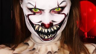 """IT"" PENNYWISE HALLOWEEN MAKEUP TUTORIAL"