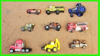 Learn Colors with Lightning Mcqueen in sand box cars shapes bob the builder