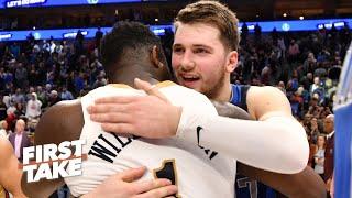 First Take recaps Mavericks vs. Pelicans: Zion vs. Luka, Kristaps Porzingis & Lonzo Ball's progress