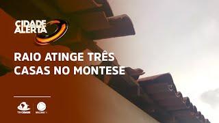 Raio atinge prédio no Montese e escombros destroem telhado de casas
