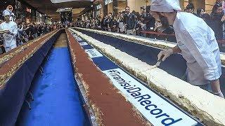 Street Food World RECORD. Making 300 Meters TIRAMISU Cake in Milan, Italy