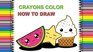 HOW TO DRAW CUTE FRUIT 2 Colors with Crayons | Songs For Kids