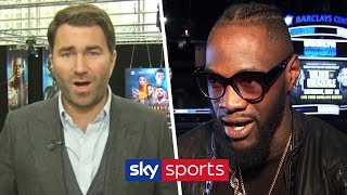Eddie Hearn reacts to Deontay Wilder's claim that Anthony Joshua doesn't want a unification clash