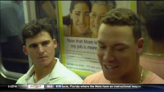 Aaron Judge and Tyler Austin ride the subway to work