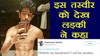 Social media reaction to Jasprit Bumrah showing six pack a..