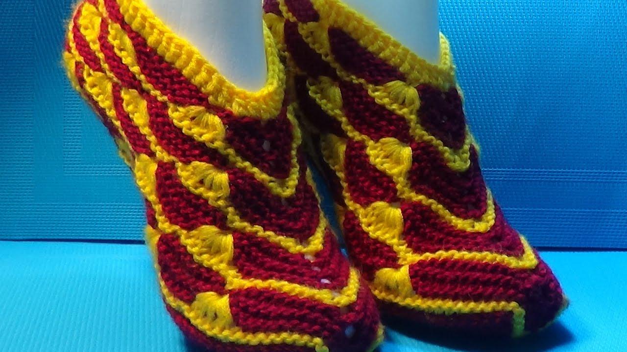 вязание спицами домашние тапочки 81