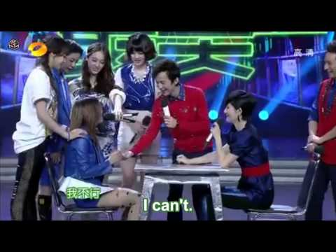 [130316] f(x) on Happy Camp Arm Wrestling clip [Eng Sub]
