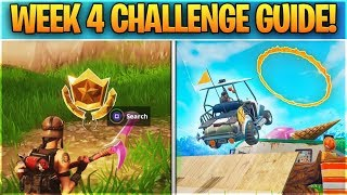 Fortnite WEEK 4 CHALLENGE GUIDE! - ALL FLAMING HOOP Locations, Treasure Map & Battle Star Location