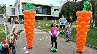 Peter Rabbit Pogo Stick Challenge - Losers Eat Raw Carrots