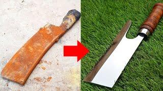 Restoring Very rusty Butcher's Knife - Unbelievable Restoration