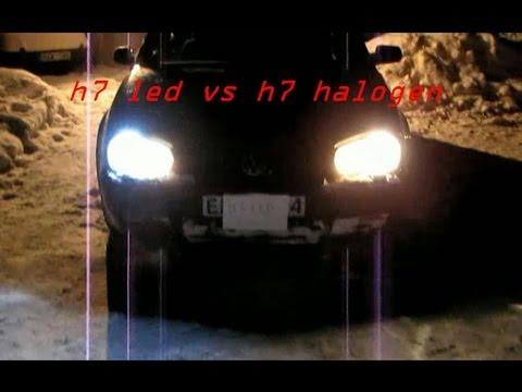 test h7 led 12 watt vs h7 halogen 55 watt at. Black Bedroom Furniture Sets. Home Design Ideas