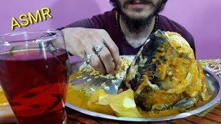 Eating big fish head with rice   asmr eating sound   by Govindrai Raikar