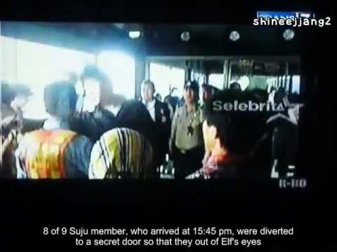 [ENG SUB] SUPER JUNIOR and EXO-M Arrival in Soekarno Hatta @ Local TV
