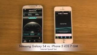 Samsung Galaxy S4 vs  iPhone 5 iOS 7 GM   Internet Speed Test