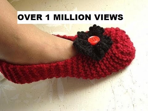 Knitted slippers for beginners, free knitting video for unisex ...