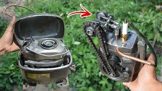 I turn Fridge Compressor into 4 stroke Engine