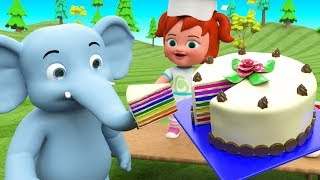Elephant Eating Cakes Little Baby Girl Fun Cooking Cake - Learn Colors for Kids Toys Educational - YouTube