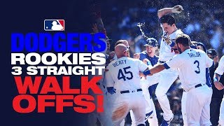 The Dodgers' get three straight walk-offs by rookies!
