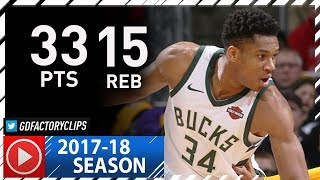 Giannis Antetokounmpo Full Highlights vs Lakers (2017.11.11) - 33 Pts, 15 Reb, BEAST!