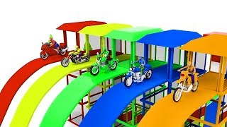 Learn Colors with Bike - Learn Shapes with Police Truck - Cartoon for Children 3D Bike Part #4