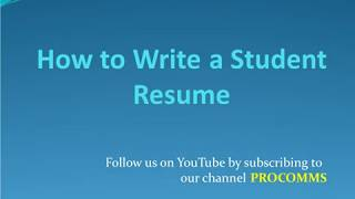 How To Write a Student Resume | Tips on How To Write a Student Resume | Student Resume