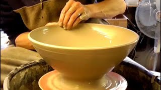 Making a Clay Pottery Bowl on the Wheel