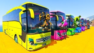 LEARN COLOR BIG BUS with Superheroes  Cartoon for kids and babies