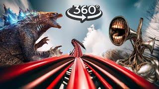 VR 360 Video Roller Coaster with Godzilla & Siren Head