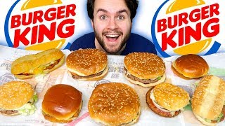 TRYING BURGER KING BURGERS! - Whopper, Cheeseburger, and MORE Taste Test!