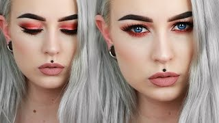 Sultry Red-Toned Grunge Drugstore Makeup | Evelina Forsell
