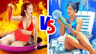 THỬ THÁCH NÓNG VÀ LẠNH || Cô Nàng Lửa VS Cô Nàng Băng Giá từ 123 GO! GOLD