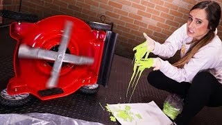 Throwing Oobleck Into A Lawn Mower!