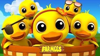 Five Little Ducks | Nursery Rhymes For Kids | Kindergarten Songs | Farmees