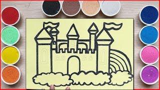 TÔ MÀU TRANH CÁT LÂU ĐÀI TRÊN MÂY -. Colored sand painting the castle on cloud - Đồ chơi Chim Xinh