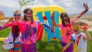BOYS VS GIRLS! Paint War and the Wacky Car Wash!!