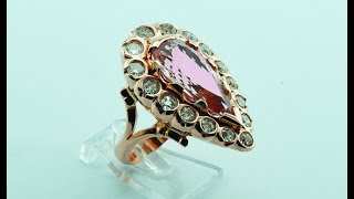 18KT red gold ring with old cut diamonds and kunzite stone handmade