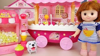 Baby doll Ice Cream cart and pop corn cooking shop toys play