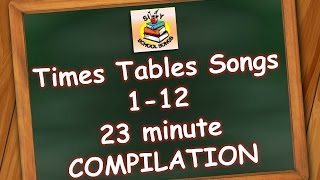 Times Tables Songs 1-12 for Kids | 23 Minute Compilation from Silly School Songs!