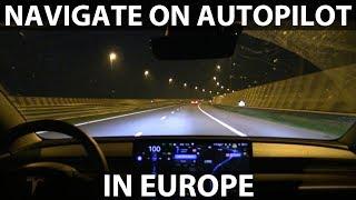 Model 3 Navigate on Autopilot in Amsterdam