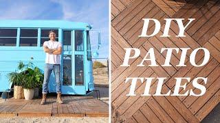DIY INTERLOCKING DECK TILES // PORTABLE PATIO FOR THE SCHOOL BUS TINY HOUSE