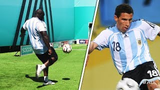 Akinfenwa attempts to recreate Maxi Rodriguez's ASTONISHING chest and volley winner!