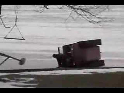 Funny six wheeler accident.