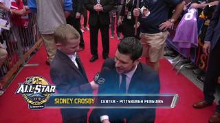9-year-old Wyatt asks NHL All-Stars tough questions on the red carpet