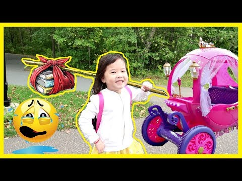 Running Away to the Play Park in a Disney Princess Carriage - Pretend Play