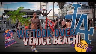 TALLGUYCARREVIEWS AND MR.organik take over VENICE BEACH BASKETBALL COURTS!!!