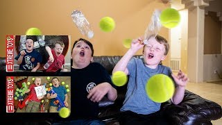Epic Movie Time With Ethan and Cole! Bazooka Blast Vs. Bottle Flip Challenge
