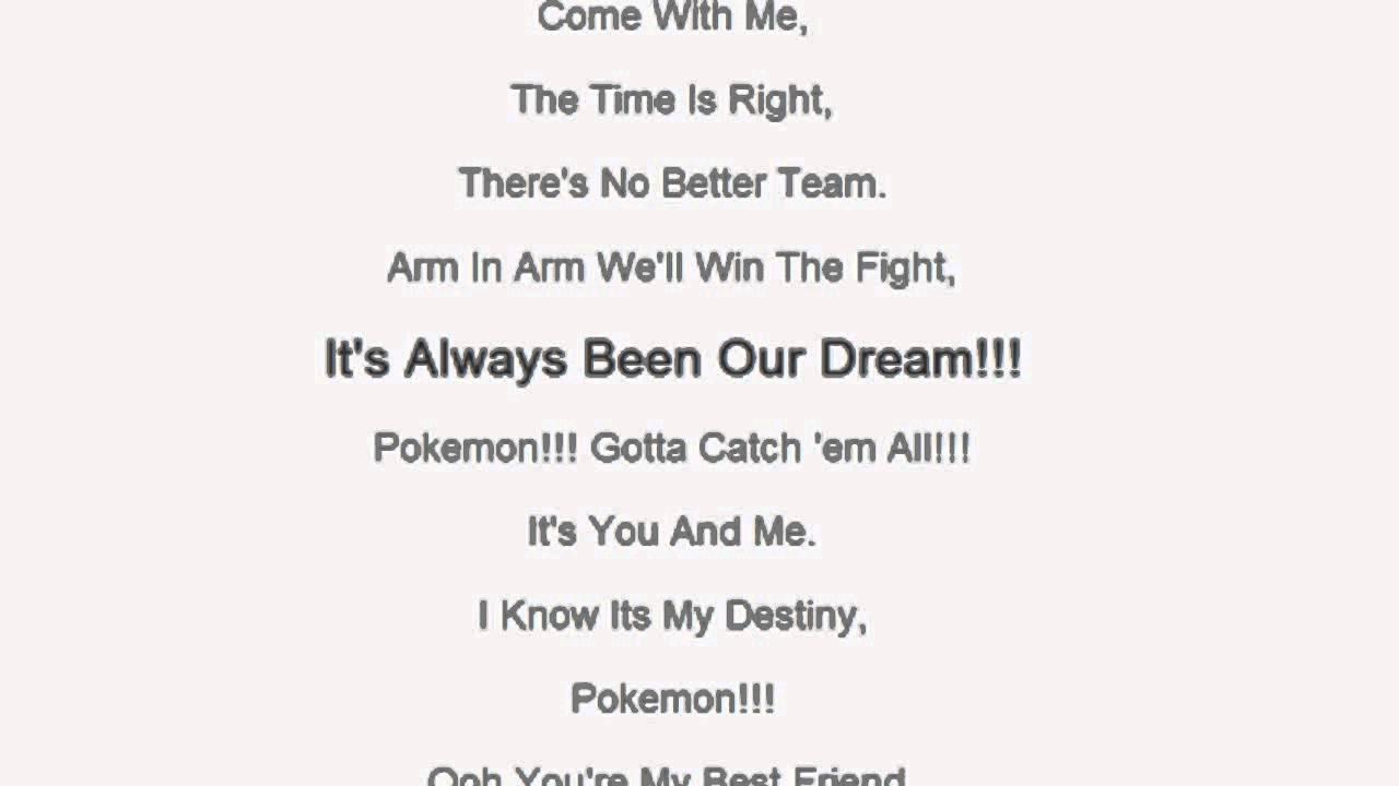 Pokemon Theme Song Lyrics Wallpaper Pokemon Theme Song Lyrics