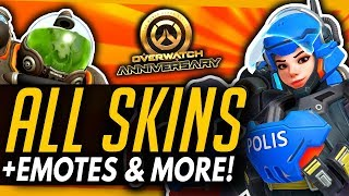 Overwatch | ALL SKINS , EMOTES & VOICE LINES - Anniversary 2019 Event